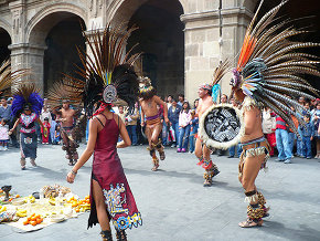 Aztec Dancers in Traditional Clothing