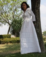 Mexican wedding dress in a beautiful garden