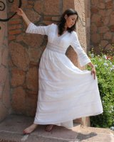 Mexican bride on a hippie Mexican wedding dress
