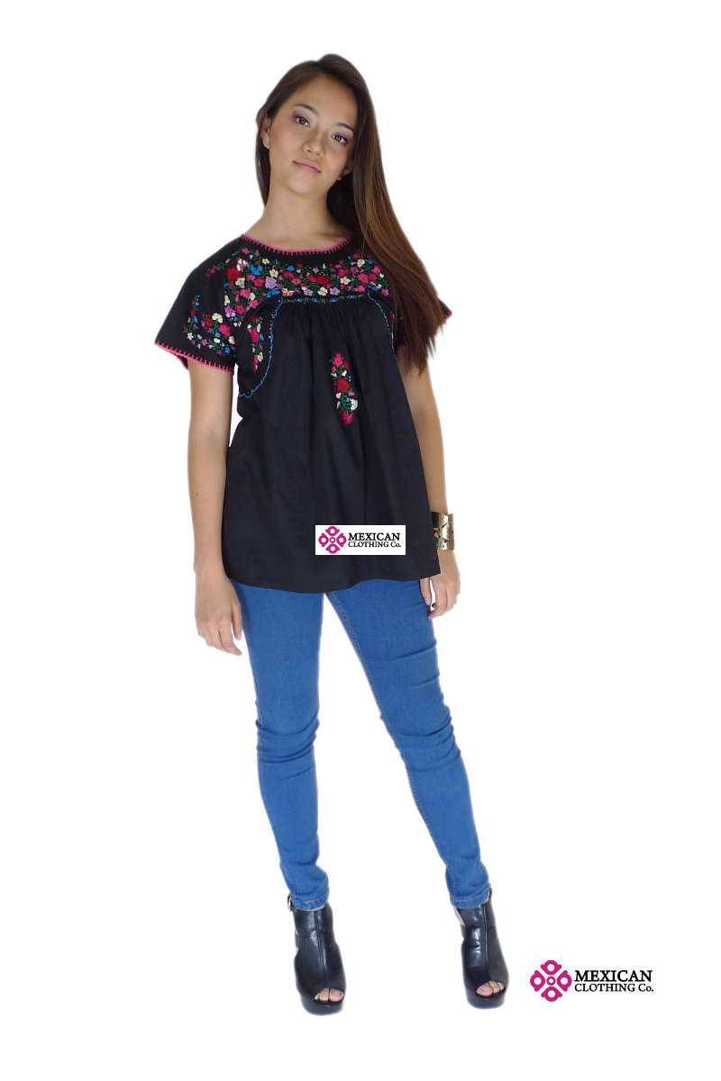 Oaxaca Mexico black blouse with vivid color embroidery