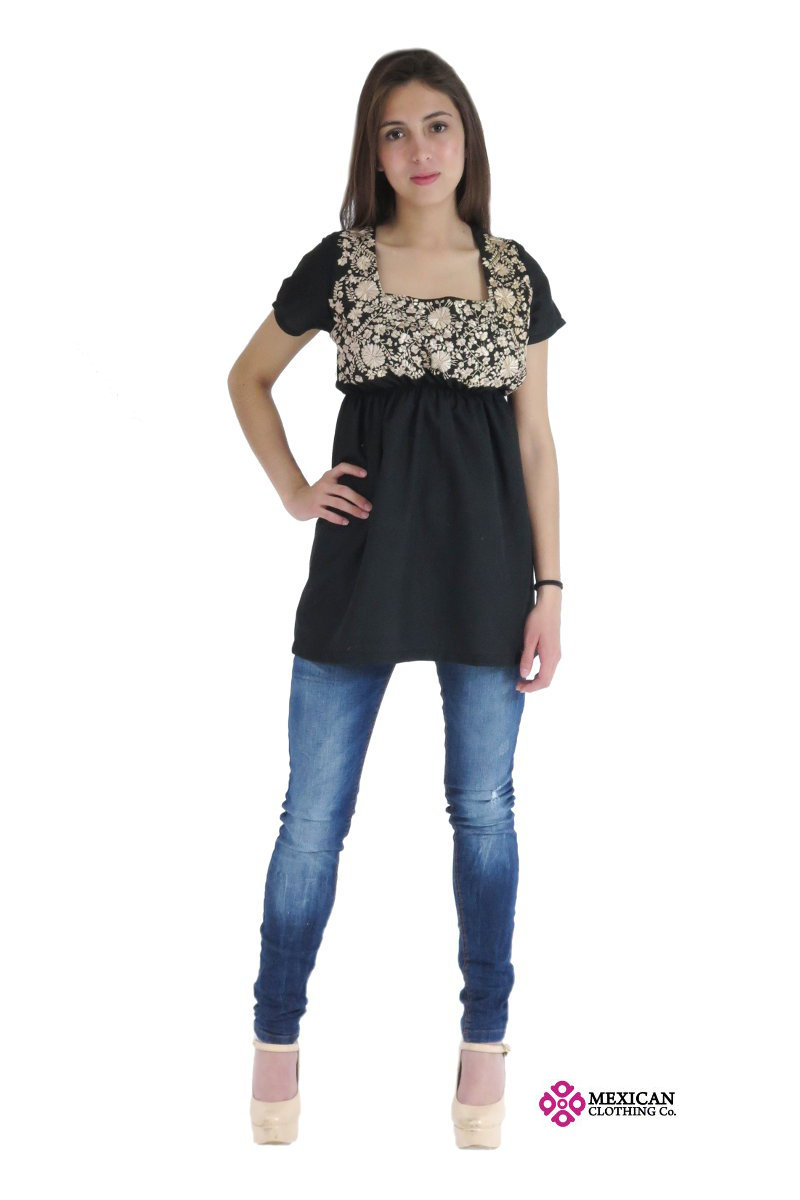 Black modern blouse with square neck and Mexican embroidery