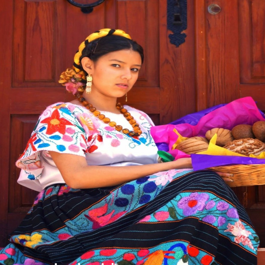 Typical Michoacan dress or purepecha dress with dark skirt and embroidered white blouse