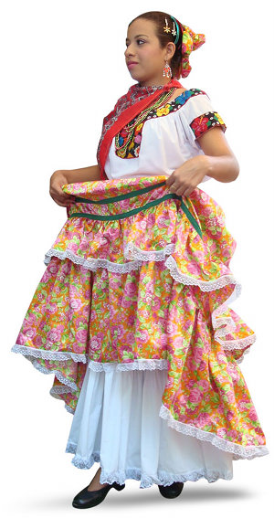 Chontal tabasco traditional dress with stamped fabric skirt and white blouse
