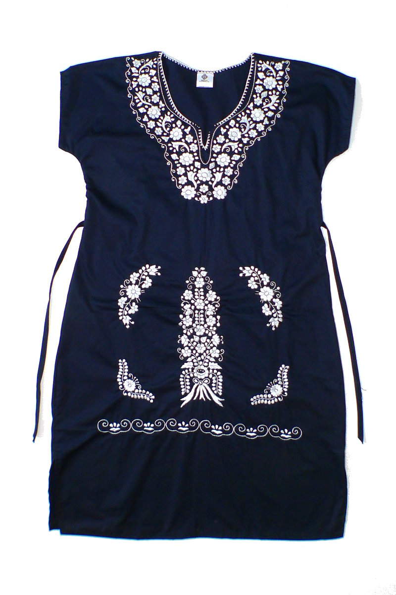 Black Mexican Dress with Silver Embroidery and Laces