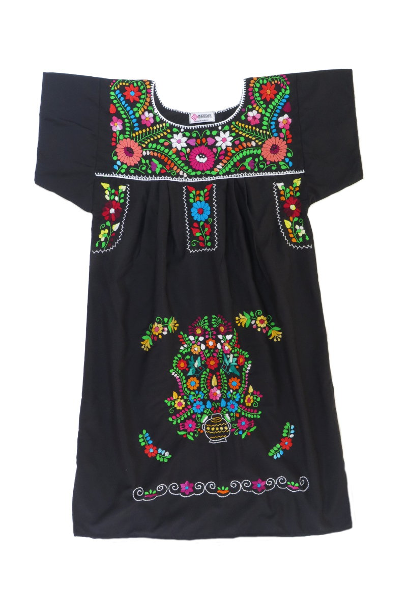 Black Traditional Mexican Tunic Peasant Dress with Colorful Embroidery