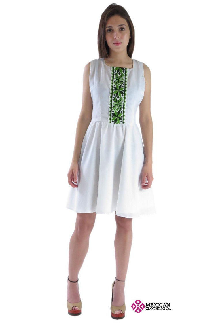 Nahua Mexican dress white with green embroidery Huasteco