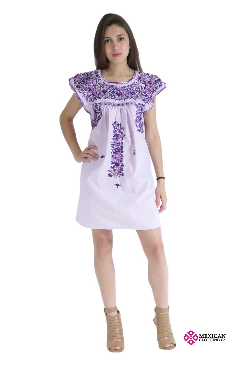 Mexican San Antonino modern dress in purple with a fashion style