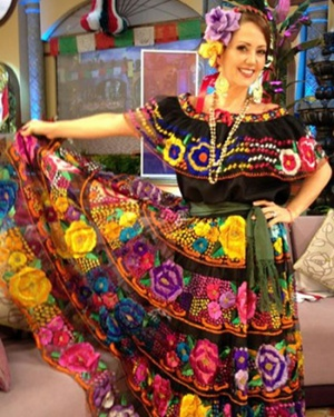 Chiapas typical dress with large flowers Andrea Legarreta