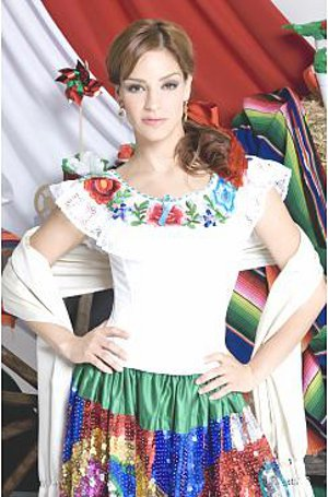 Typical puebla sequin dress with Mexican symbols
