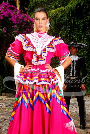Jalisco or escaramuza pink dress with colorful ribbons