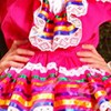 Typical Mexican Dress from Jalisco pink with colorful ribbons