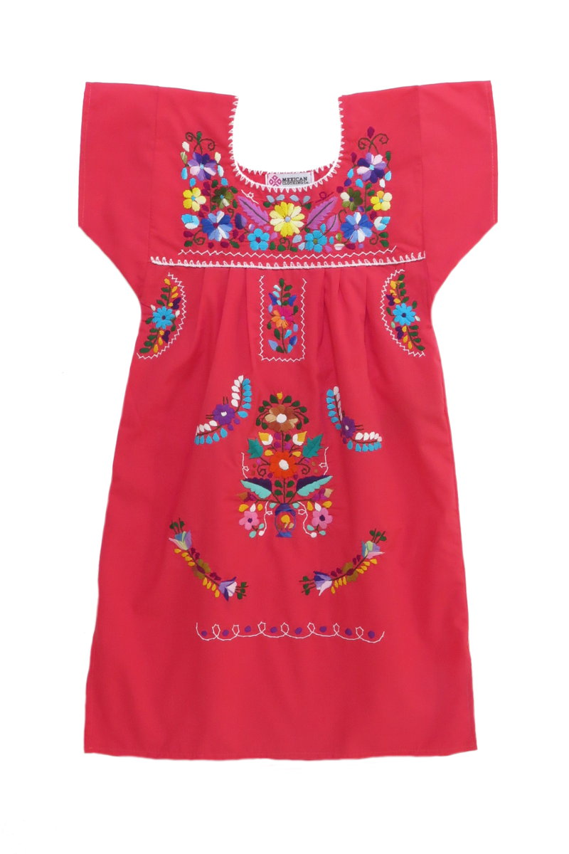 Red with Colorful Embroidery Mexican Peasant Dress