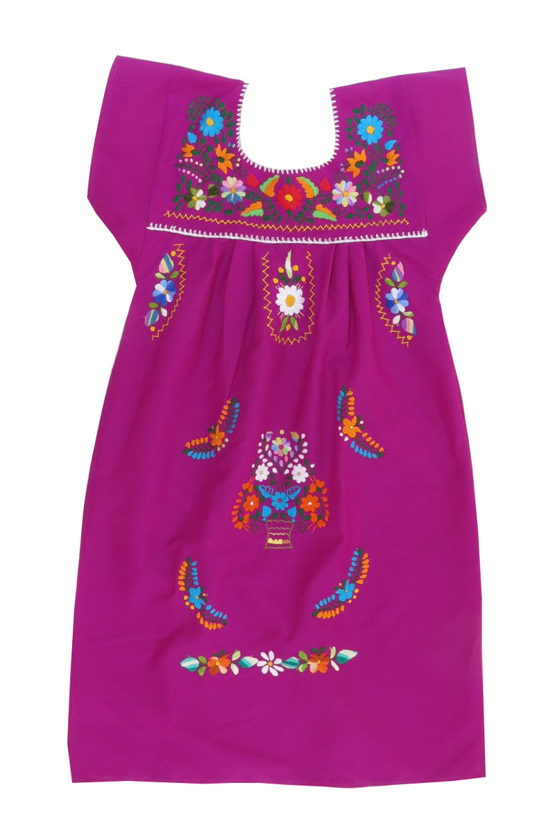 Purpule with Colorful Embroidery Mexican Peasant Dress