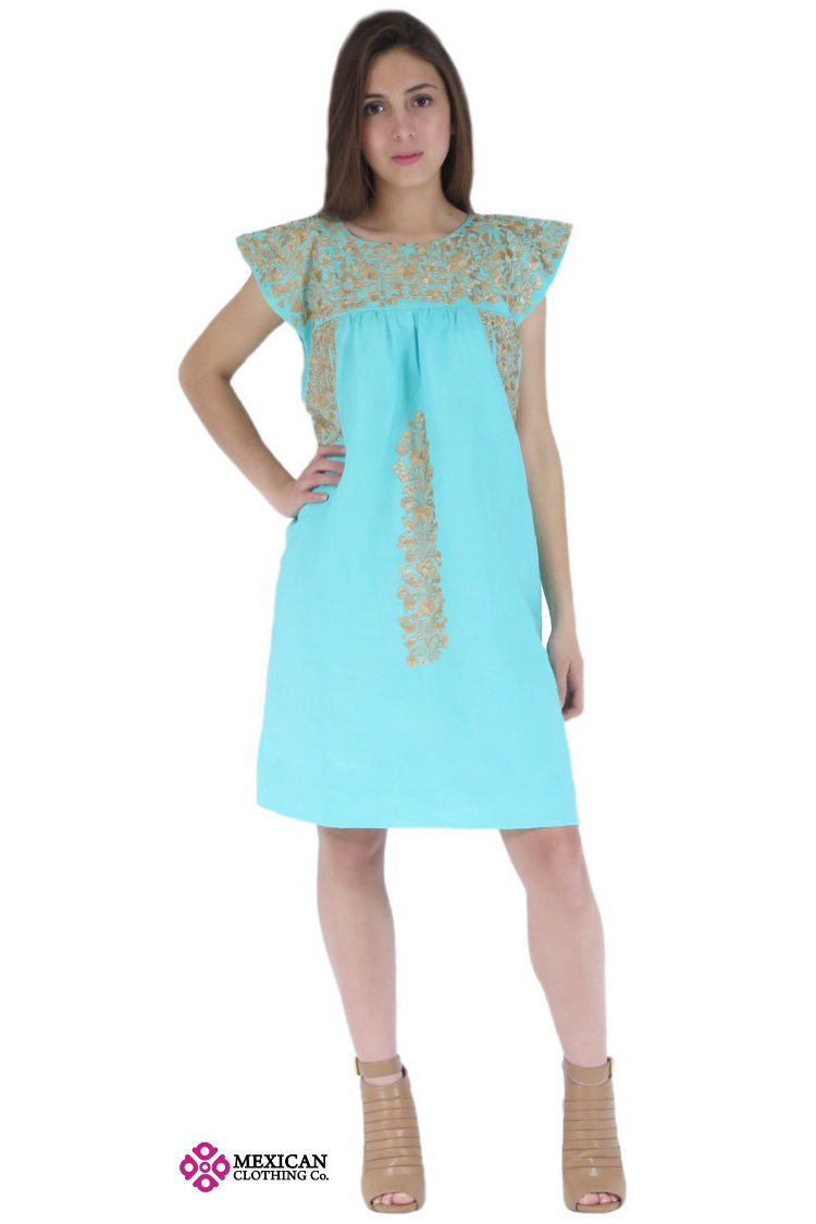 Mexican traditional San Antonino Oaxaca aqua with gold embroidery dress