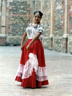 Mexican Campeche typical dress with red skirt and white blouse