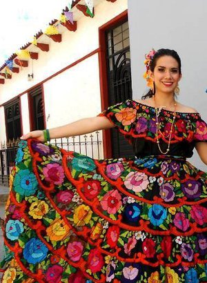 Large flower typical chiapa de corzo colorful dress