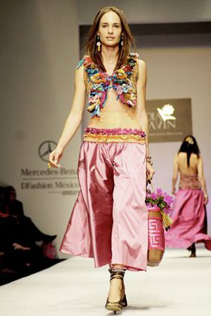 Pink satin skirt with Mexican style blouse and shawl